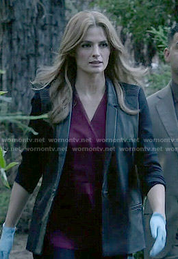 Kate's leather blazer on Castle