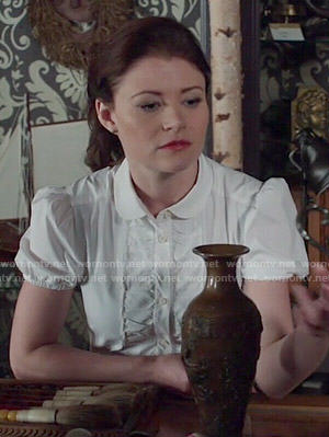 Belle's white ruffled front shirt on Once Upon a Time