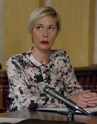 Bonnie's black floral long sleeved top on How to Get Away with Murder