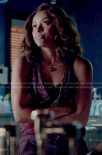 Bonnie's red printed wrap top on The Vampire Diaries