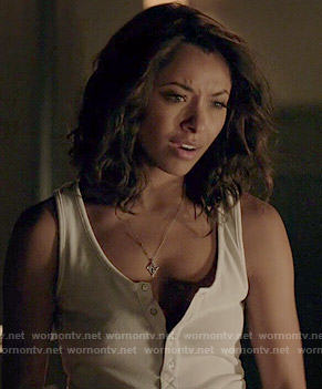 Bonnie's white henley tank on The Vampire Diaries