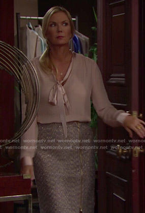 Brooke's pink bow-neck blouse and tweed zip-front skirt on The Bold and the Beautiful
