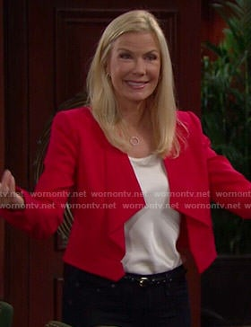 Brooke's red draped front jacket on The Bold and the Beautiful