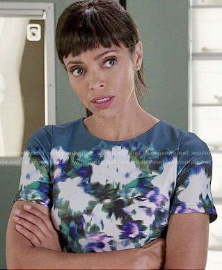 Camille's teal floral dress on Bones