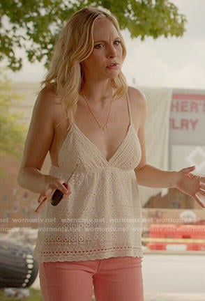Caroline's white crochet cami on The Vampire Diaries