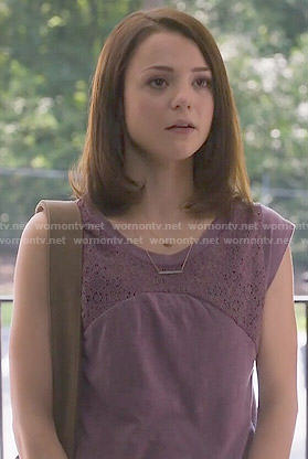 Carter's purple lace panel top on Finding Carter