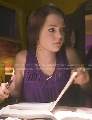 Carter's purple netted top on Finding Carter