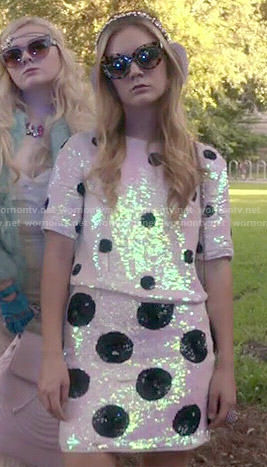 Chanel 3's sequin polka dot co-ord set on Scream Queens