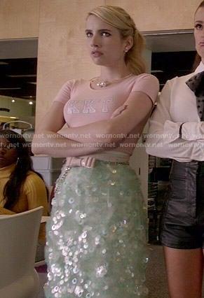 Chanel's mint green sequin skirt and pink KKT crop top on Scream Queens
