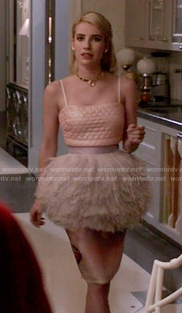 Chanel's pink heart quilted crop top and feather peplum skirt on Scream Queens