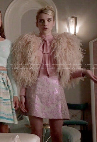 Chanel's feather bolero, pink blouse and metallic skirt on Scream Queens