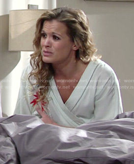 Chelsea's mint green embroidered robe on The Young and the Restless