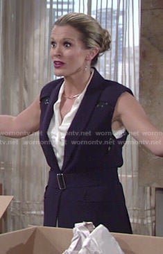 Chelsea's navy lace inset vest on The Young and the Restless