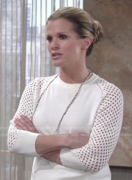 Chelsea's white perforated sweater on The Young and the Restless