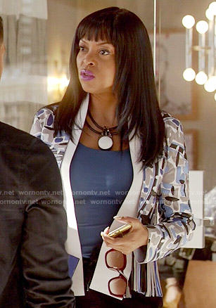Cookie's blue patterned fringed jacket on Empire