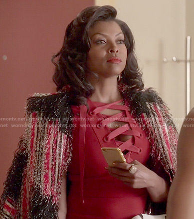 Cookie's red lace-up dress and red textured coat on Empire