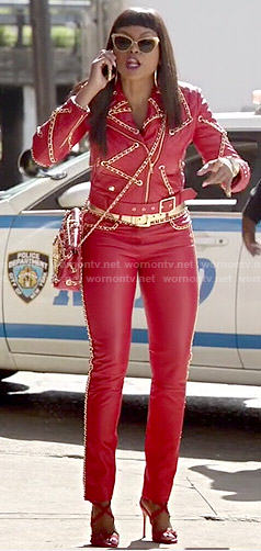 Cookie's red leather and chain detail outfit on Empire
