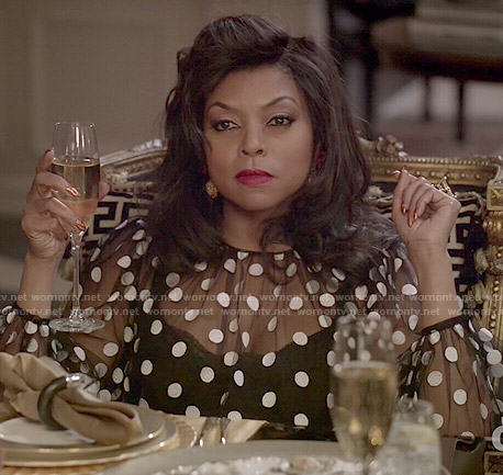 Cookie's sheer polka dot blouse on Empire