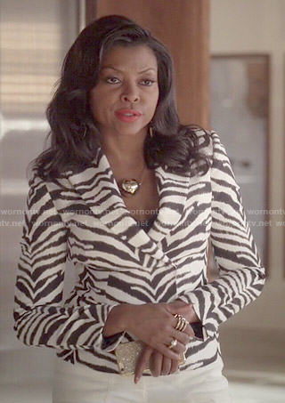 Cookie's zebra print blazer, white flares and metal ball necklace on Empire