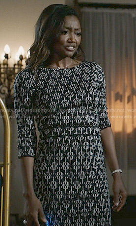 Daisy's black geometric printed dress on Madam Secretary
