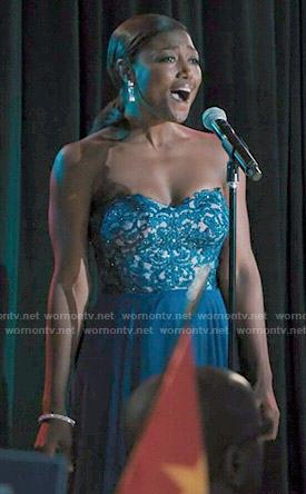 Daisy's blue embellished bodice gown on Madam Secretary