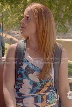 Daphne's butterfly wing print tank top on Switched at Birth