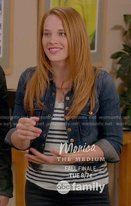 Daphne's striped top and denim jacket on Switched at Birth