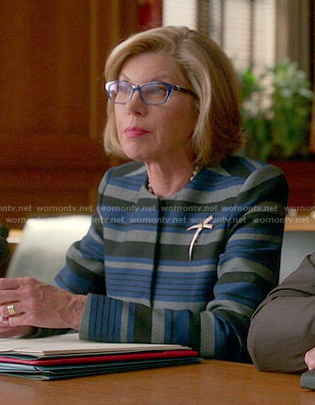 Diane's blue striped jacket on The Good Wife
