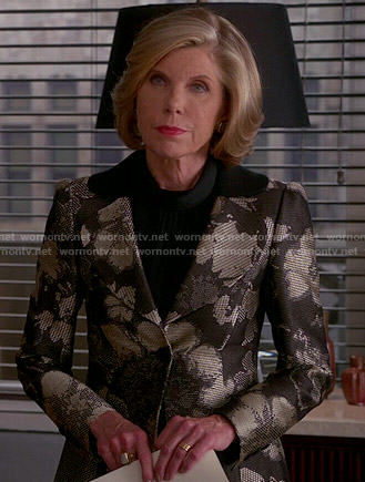 Diane's metallic floral jacket on The Good Wife