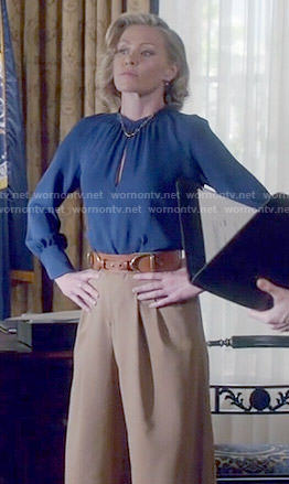 Elizabeth's blue blouse and wide leg pants on Scandal