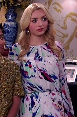 Emma's white abstract printed romper on Jessie
