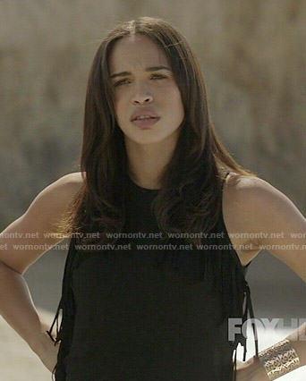 Erica's black fringed mini dress on Last Man on Earth