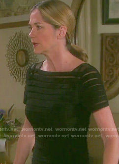 Eve's black illusion striped funeral dress on Days of our Lives