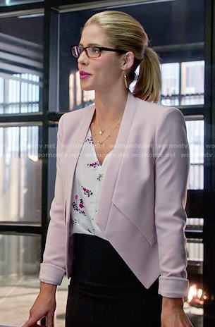 Felicity's pink blazer and floral top on Arrow