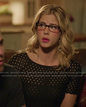 Felicity's black lattice dress on Arrow