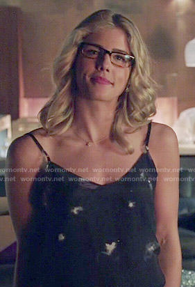 Felicity's black printed cami on Arrow