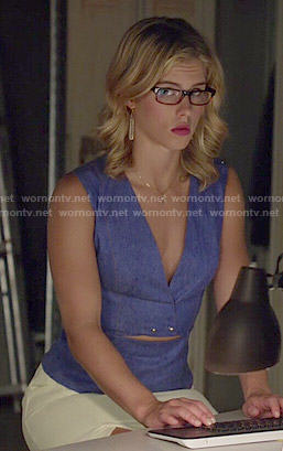 Felicity's blue denim v-neck top with studs on Arrow