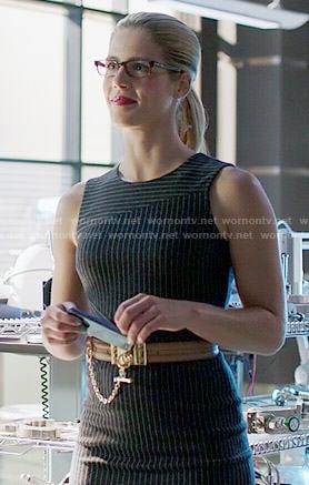 Felicity's pinstriped dress on Arrow