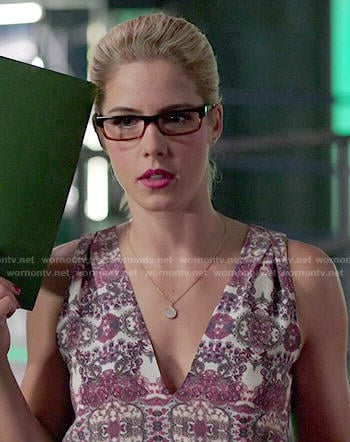 Felicity's purple printed v-neck top on Arrow