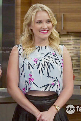 Gabi's light blue leaf print crop top on Young and Hungry
