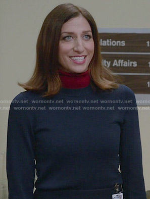 Gina's navy and red layered turtleneck sweater on Brooklyn Nine-Nine