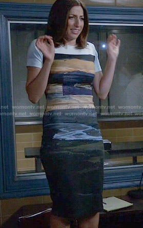 Gina's painted print dress on Brooklyn Nine-Nine