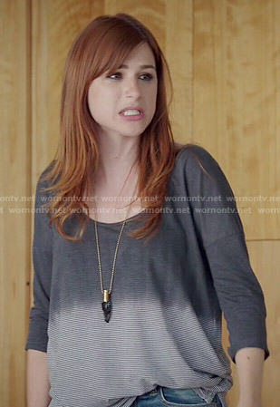 Getchen's grey striped dip-dyed top on You're the Worst