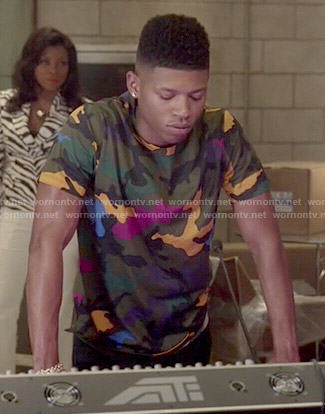 Hakeem's multi-colored camouflage tee on Empire