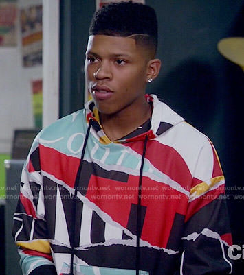 Hakeem's ripped print hoodie on Empire