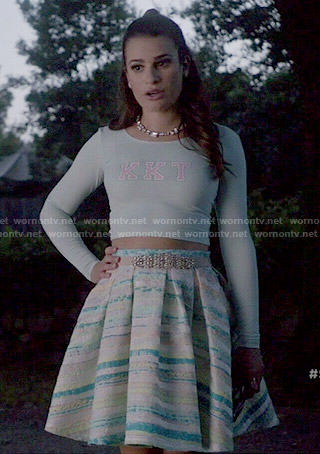 Hester's blue and green striped skirt and KKT crop top on Scream Queens