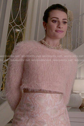 Hester's blush pink fluffy sweater and leaf pattern skirt on Scream Queens