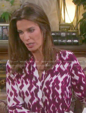 Hope's red ikat print blouse on Days of our Lives