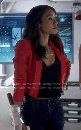 Iris's red cropped jacket on The Flash