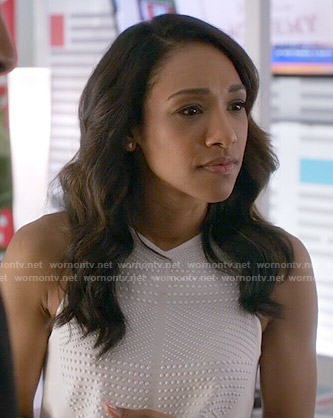 Iris's white studded top on The Flash